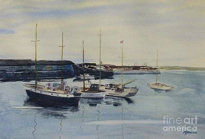 Boats In A Harbour Print by Martin Howard