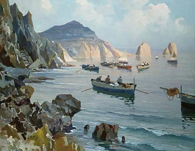 Harbour Painting - Boats In A Rocky Cove  by Edward Henry Potthast