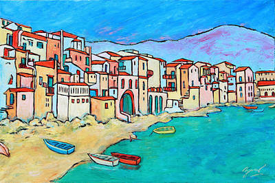 Painting - Boats In Front Of Buildings Viii by Xueling Zou