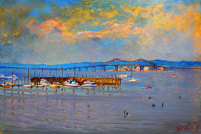 Ducks Painting - Boats In Piermont Harbor Ny by Ylli Haruni