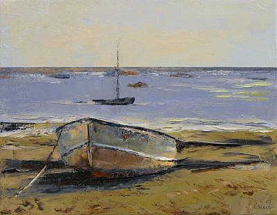 Boats In Provincetown Harbor Print by Michael Creese