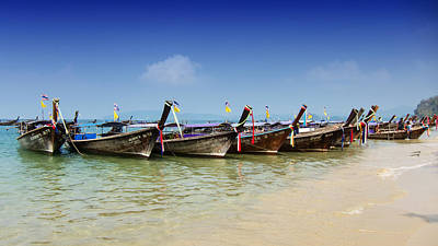 Boats In Thailand Print by Zoe Ferrie