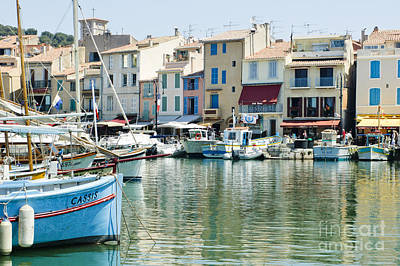 Reflections Photograph - Boats In The Coastal Village Of Cassis France by Oscar Gutierrez