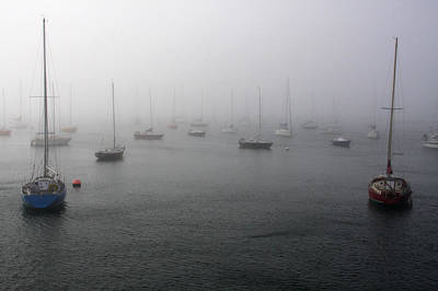 Boats In The Mist Print by Aidan Moran