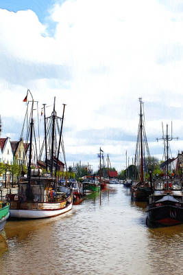 Boats In The Old Harbor Print by Steve K
