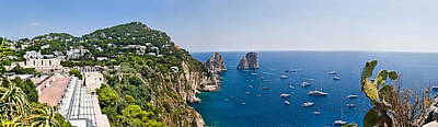 Boats In The Sea, Faraglioni, Capri Print by Panoramic Images
