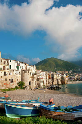 Boats On Beach, Cefalu, N Coast, Sicily Print by Peter Adams