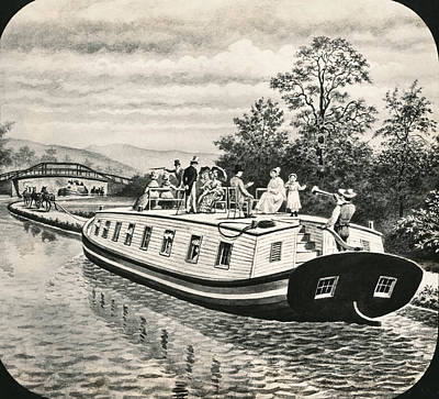 Gathering Photograph - Boats On Erie Canal by Underwood Archives