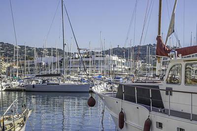 Boats On French Riviera Print by Tony Moran