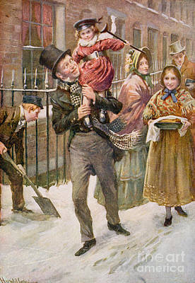 Charles Dickens Painting - Bob Cratchit And Tiny Tim by Harold Copping