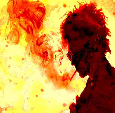 Bob Dylan Digital Art - Bob Dylan Burning One by Brian Reaves