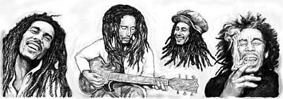 1945 Painting - Bob Marley Art Drawing Sketch Poster by Kim Wang