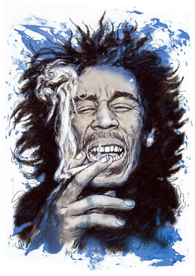 Bob Marley Colour Drawing Art Poster Print by Kim Wang