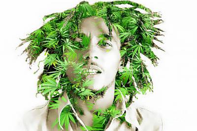 Ganja Mixed Media - Bob Marley by Marvin Blaine