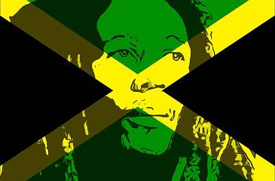 Jamaican Mixed Media - Bob Marley On Jamaican Flag by Dan Sproul