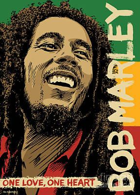Rasta Digital Art - Bob Marley Pop Art by Jim Zahniser