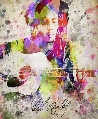 Gong Digital Art - Bob Marley Portrait by Aged Pixel