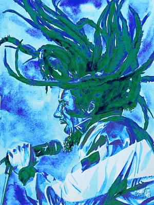 Rasta Painting - Bob Marley Singing Portrait.2 by Fabrizio Cassetta