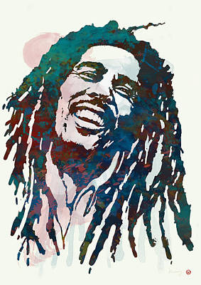 Bob Marley Stylised Etching Pop Art Poster Print by Kim Wang