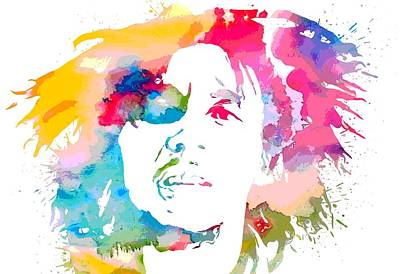 Jamaican Mixed Media - Bob Marley Watercolor Portrait by Dan Sproul