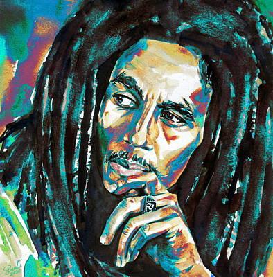 Rasta Painting - Bob Marley Watercolor Portrait.7 by Fabrizio Cassetta