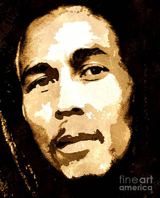 Bob Marley Abstract Painting - Bob Marley Watercolour by Brian Raggatt
