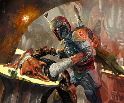 Stars Digital Art - Boba Fett - Star Wars The Card Game by Ryan Barger