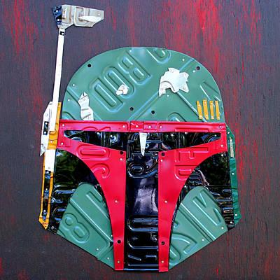 Helmet Mixed Media - Boba Fett Star Wars Bounty Hunter Helmet Recycled License Plate Art by Design Turnpike