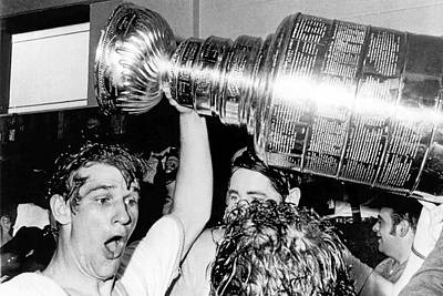 Bobby Orr With Stanley Cup Print by Underwood Archives