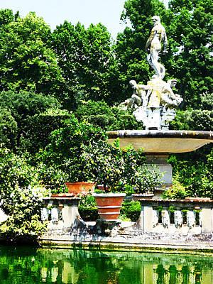 Boboli Gardens Fountain Florence Italy Print by Irina Sztukowski