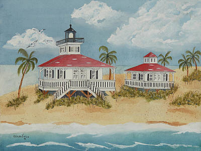 Grande Painting - Boca Grande Lighthouse by John Edebohls