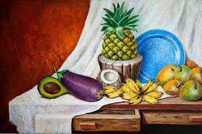 Table Cloth Painting - Bodegon Criollo by Edgar Torres