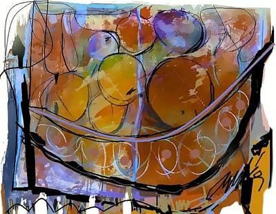 Mango Digital Art - Bodegon Mangos Y Mameis by Andres Martinez