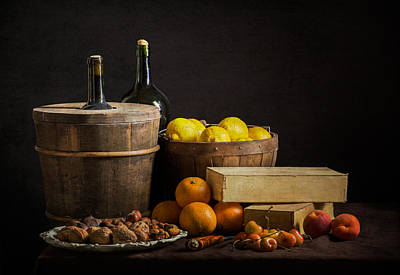 Bodegon With Cooler-jalea Boxes-oranges And Nuts Print by Levin Rodriguez