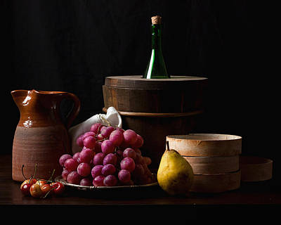 Bodegon With Grapes-pear And Boxes Print by Levin Rodriguez