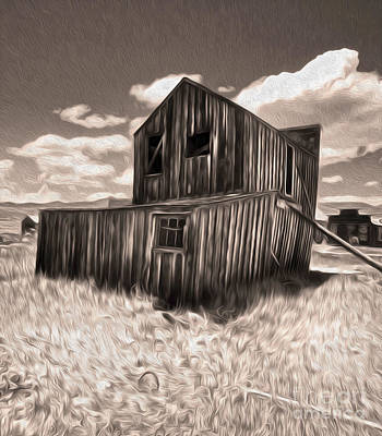 Bodie Ghost Town - Bent House 03 Print by Gregory Dyer
