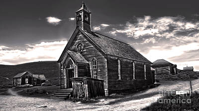 Bodie Ghost Town - Spooky Church Print by Gregory Dyer