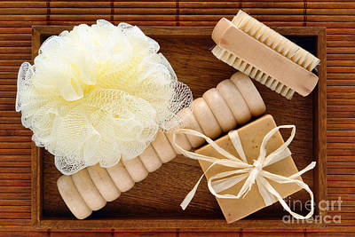 Body Care Accessories In Wood Tray Print by Olivier Le Queinec