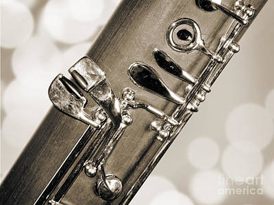 Bassoon Music Instrument Fine Art Prints Canvas Prints Greeting Cards In Sepia 3422.01 Print by M K  Miller