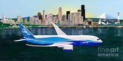 Seattle Skyline Painting - Boeing 787 First Flight by Tim Neiser