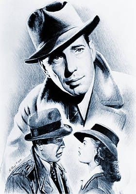 Blue And Grey Drawing - Bogart Silver Screen by Andrew Read
