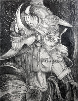 Visionary Art Drawing - Bogomils Duckhunting Mask by Otto Rapp