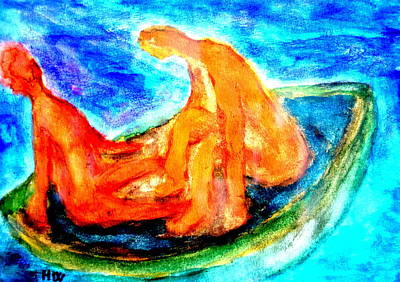 Artist Process Painting - We Were Drifting Off Again, Just Like Some Old Bohemian Couple  by Hilde Widerberg
