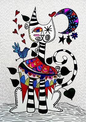 Cat And Moon Painting - Boho Cat And Moon by Sandra Perez-Ramos