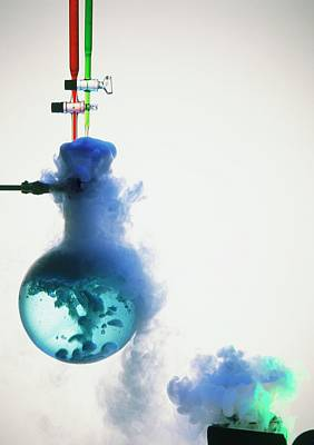 Chemical Photograph - Boiling Blue Liquid In Flask by Dorling Kindersley/uig