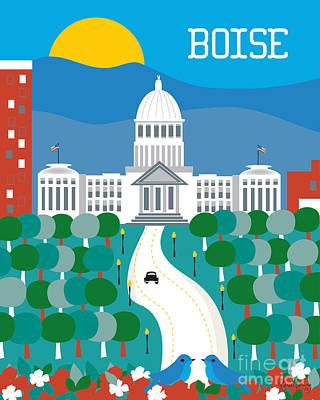 Capitol Building Digital Art - Boise by Karen Young