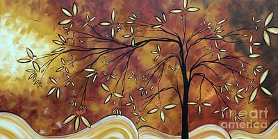 Oversized Painting - Bold Neutral Tones Abstract Landscape Art Oversized Original Painting The Wishing Tree By Madart by Megan Duncanson