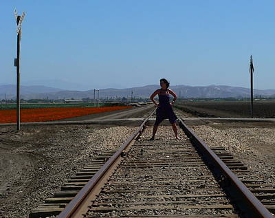 Girl With A Pink Dress Photograph - Bold Woman Railroad Tracks by Jeff Lowe