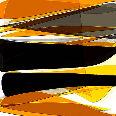 Bold- Yellow Orange Black And Gray Art Print by Lourry Legarde