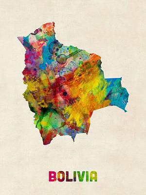 Latin America Digital Art - Bolivia Watercolor Map by Michael Tompsett